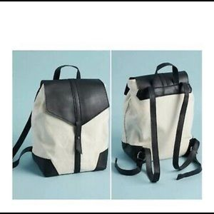 Adorable vegan leather and canvas backpack